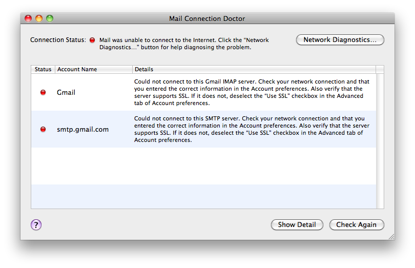 Mac Mail Not Working